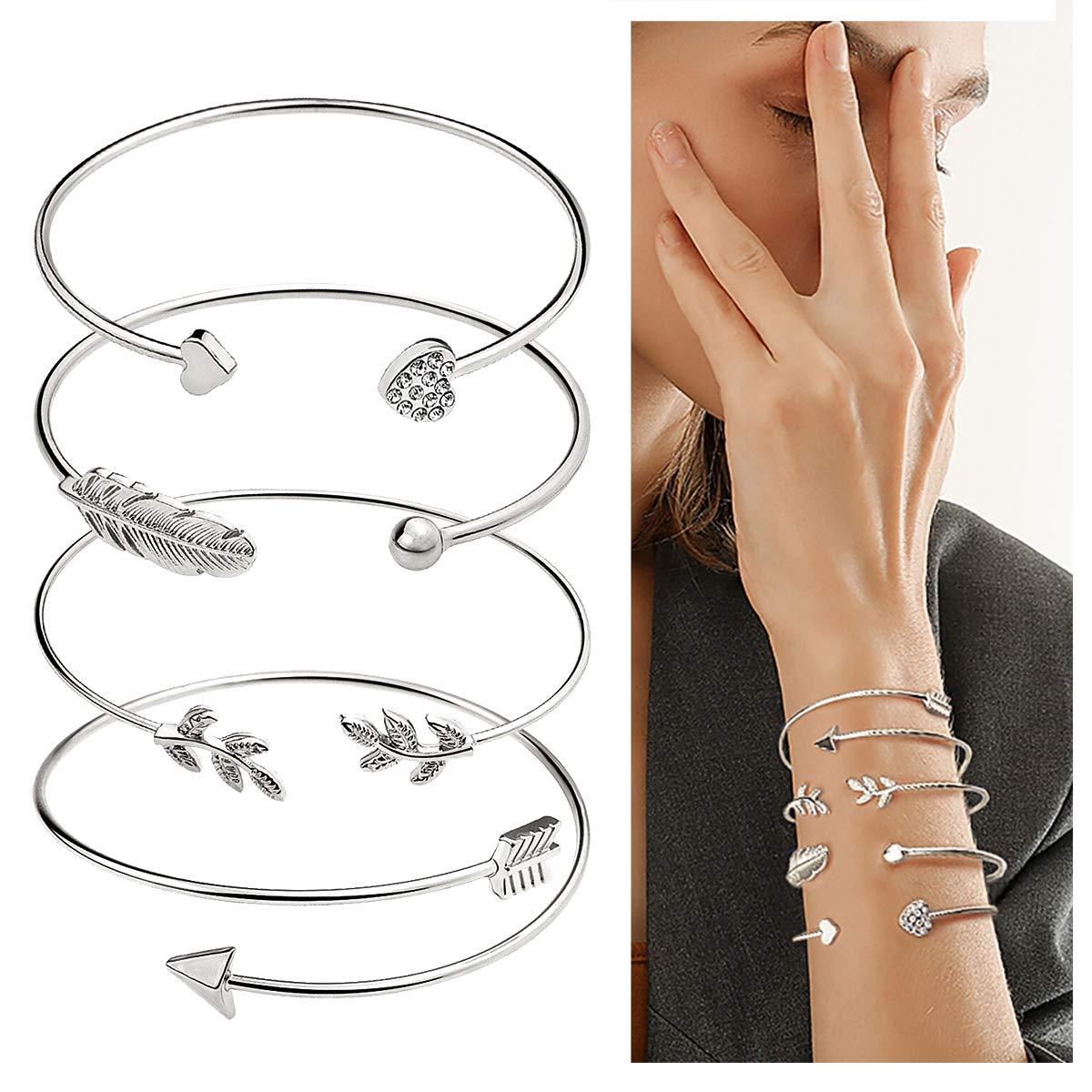 suyi 4 Stück Verstellbare Manschette Armband offenen Draht Armreif stapelbar Wrap Armband Set für Frauen Mädchen