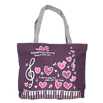 d5c0d00a543f Music Notes with Pink Heart Canvas Tote Bag Washable Reusable Grocery Bag  For Shopping Traveling (Purple)