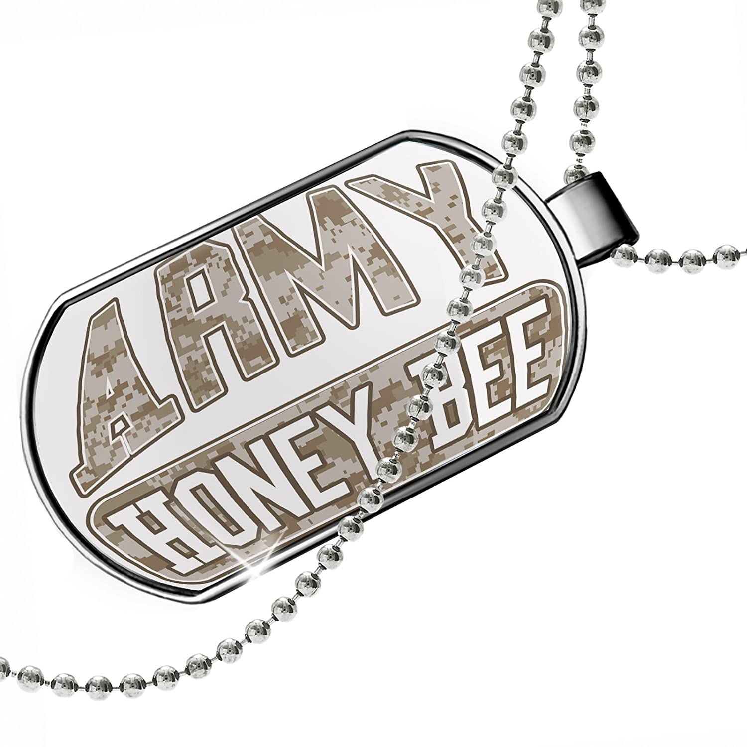 NEONBLOND Personalized Name Engraved Army Honey Bee Camo Dogtag Necklace