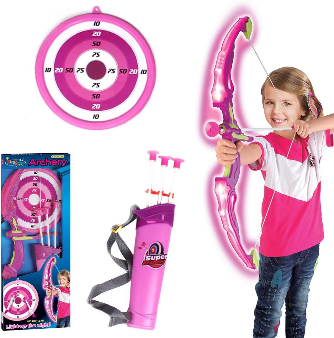 Foxom Arco y Flechas Niños con Luz, Set Tiro con Arco con 3 Ventosa Flechas, 1 Arco, 1 Carcaj y 1 Objetivo, Niño 6 Años+