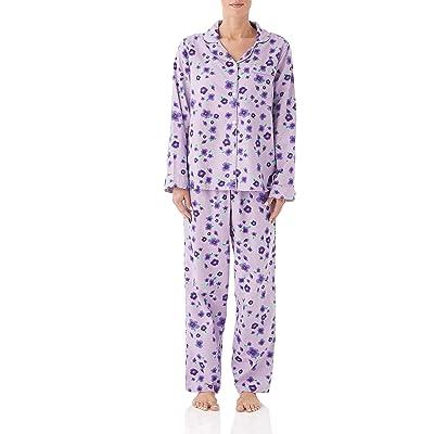 Ladies Fleece Pyjama Set Warm Flower Print Long Sleeve Cozy PJ Loungewear Set