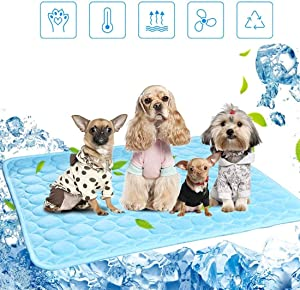 AERZETIX Pets Cooling Mat for Dogs Cats Summer Self Cooling Pad 39''X 27.3''Washable Kennel Mat Breathable Ice Milk Cooling Blanket Puppy Sleeping Cushion for Small Medium Large Pet Home Travel