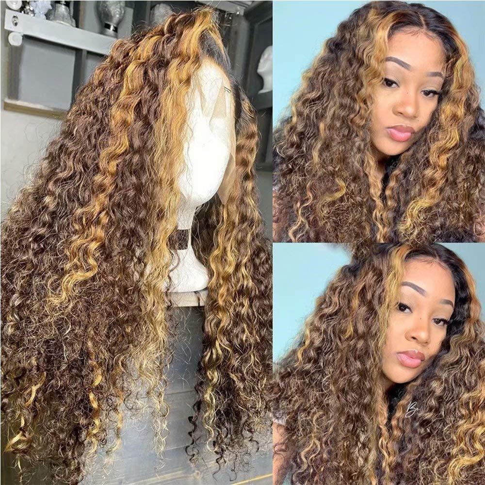 Max 85% OFF QUINLUX 4 27 Highlight Max 62% OFF Curly Human For Front 13X6 Lace Hair Wigs