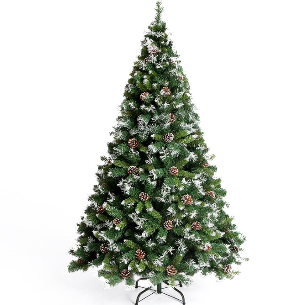 CHICHIC Christmas Tree 7 ft Premium Artificial Tree 1100 Branch Tips with 43 True Pine Cones & Snow & Solid Metal Legs Faux Xmas Tree Artificial Holiday Pine Full Tree for Christmas Decorations by CHICHIC