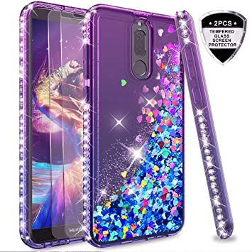 LeYi Funda Huawei Mate 10 Lite Silicona Purpurina Carcasa con [2-Unidades Cristal Vidrio Templado],Transparente Cristal Bumper Telefono Gel Fundas ...