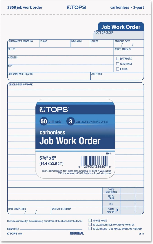 TOP3868 Snap-Off Job Work Order Form