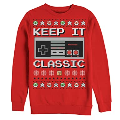 nintendo mens ugly christmas sweater nes classic controller sweatshirt at amazon mens clothing store - Amazon Christmas Sweater