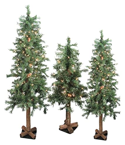 18072f4b48552 Image Unavailable. Image not available for. Color  Northlight Set of 3  Pre-Lit Woodland Alpine Artificial Christmas Trees ...