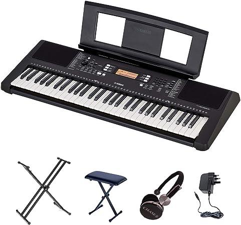 Yamaha Juego de teclado PSR-E363 con doble soporte X, banco y auriculares