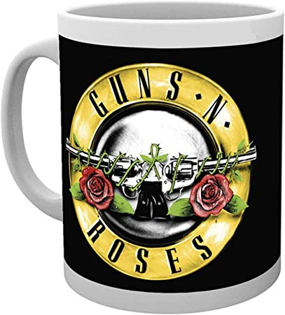 GB OFFICIAL GUNS AND ROSES LOGO BLACK DRINKING GLASS TUMBLER NEW IN GIFT BOX
