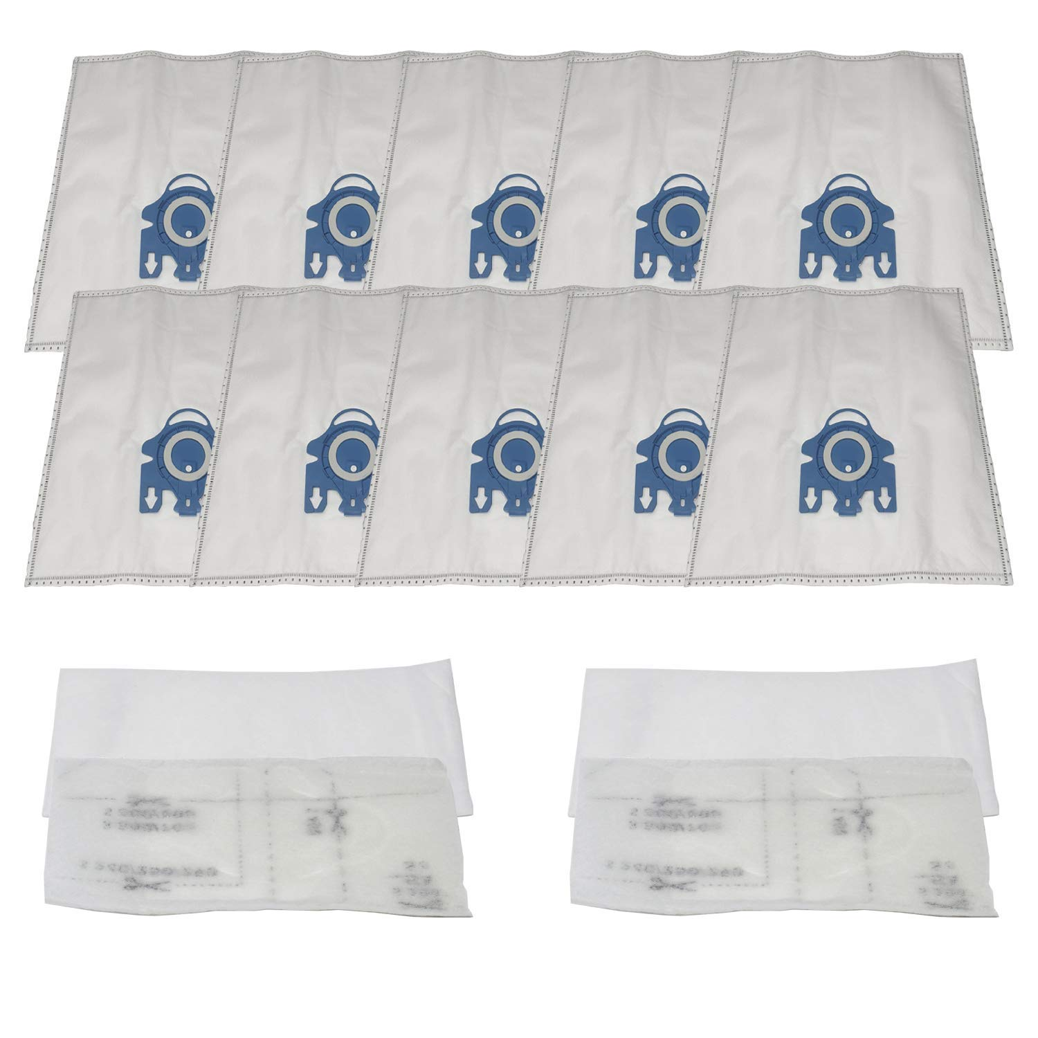 ZVac (10 Bags + 4 Filters) Compatible Vacuum Bags/Filters Replacement for Miele GN Airclean Vacuum bags Fits all Miele Vacuum Cleaners using Miele GN Vacuum Bags or Filters