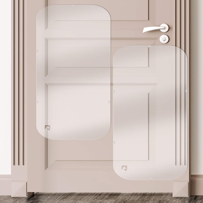 Petfect - Juego de 2 protectores de arañazos de mascotas para puerta, para uso interior y exterior, transparente (90 x 40 cm)