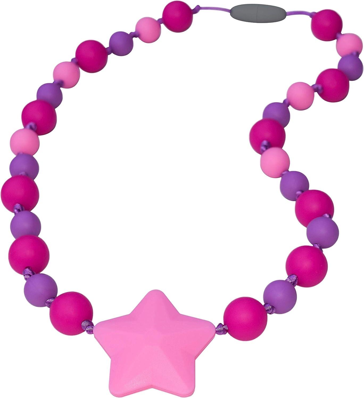 Munchables Starlight Sensory Chew Necklaces for Girls (Fuchsia/Purple/Pink)