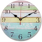 "Soledi Wall Clock 12"" Vintage Colorful Stripe Rustic Country Tuscan Style Wooden Decorative (Ocean)"