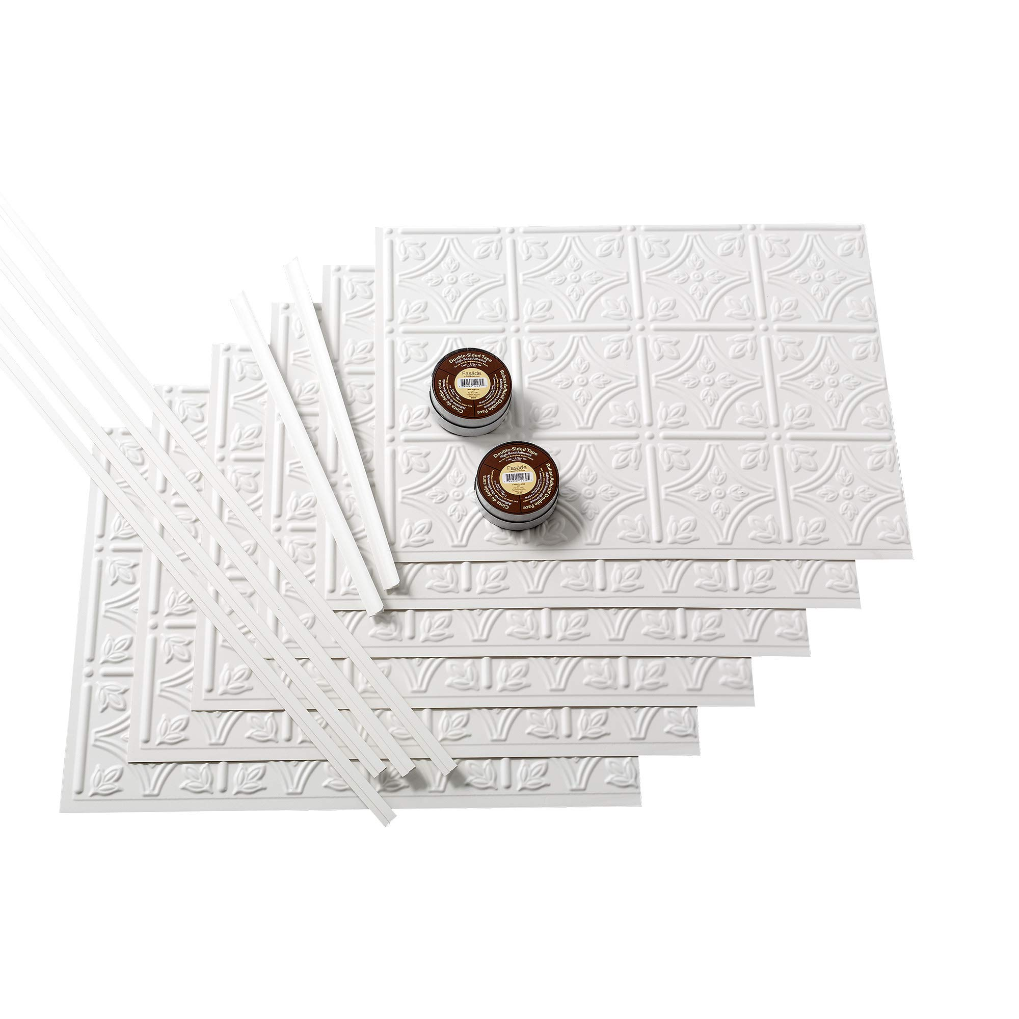 FASÄDE Easy Installation Traditional 1 Matte White Backsplash Panel for Kitchen and Bathrooms (18 sq ft Kit)