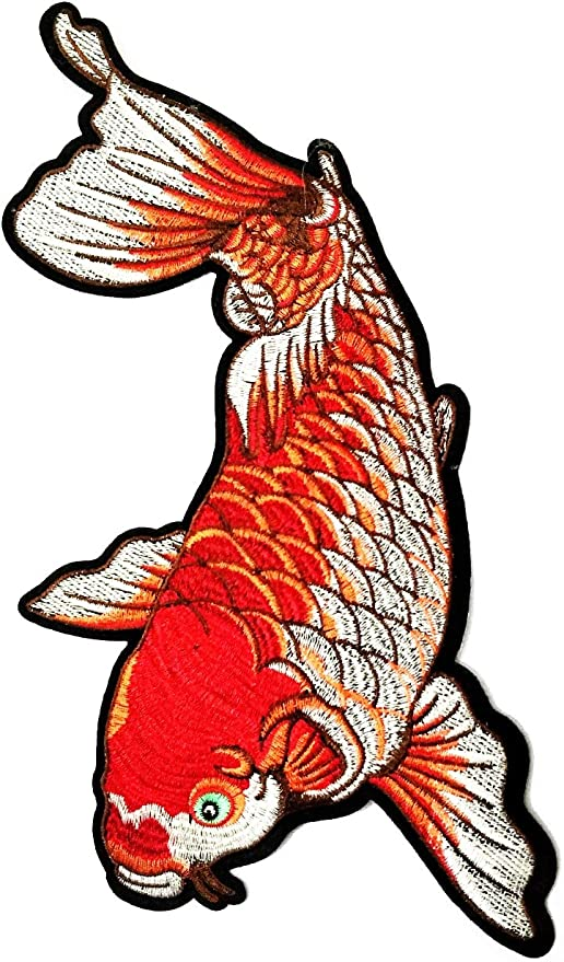 Amazon Com Nipitshop Patches Size Big Beautiful Red Japanese Koi Carp Fish Tattoo Japan Love Embroidered Applique Iron On Patch For Jacket T Shirt Patch Sew Iron On Embroidered Symbol Badge Cloth Sign Costume