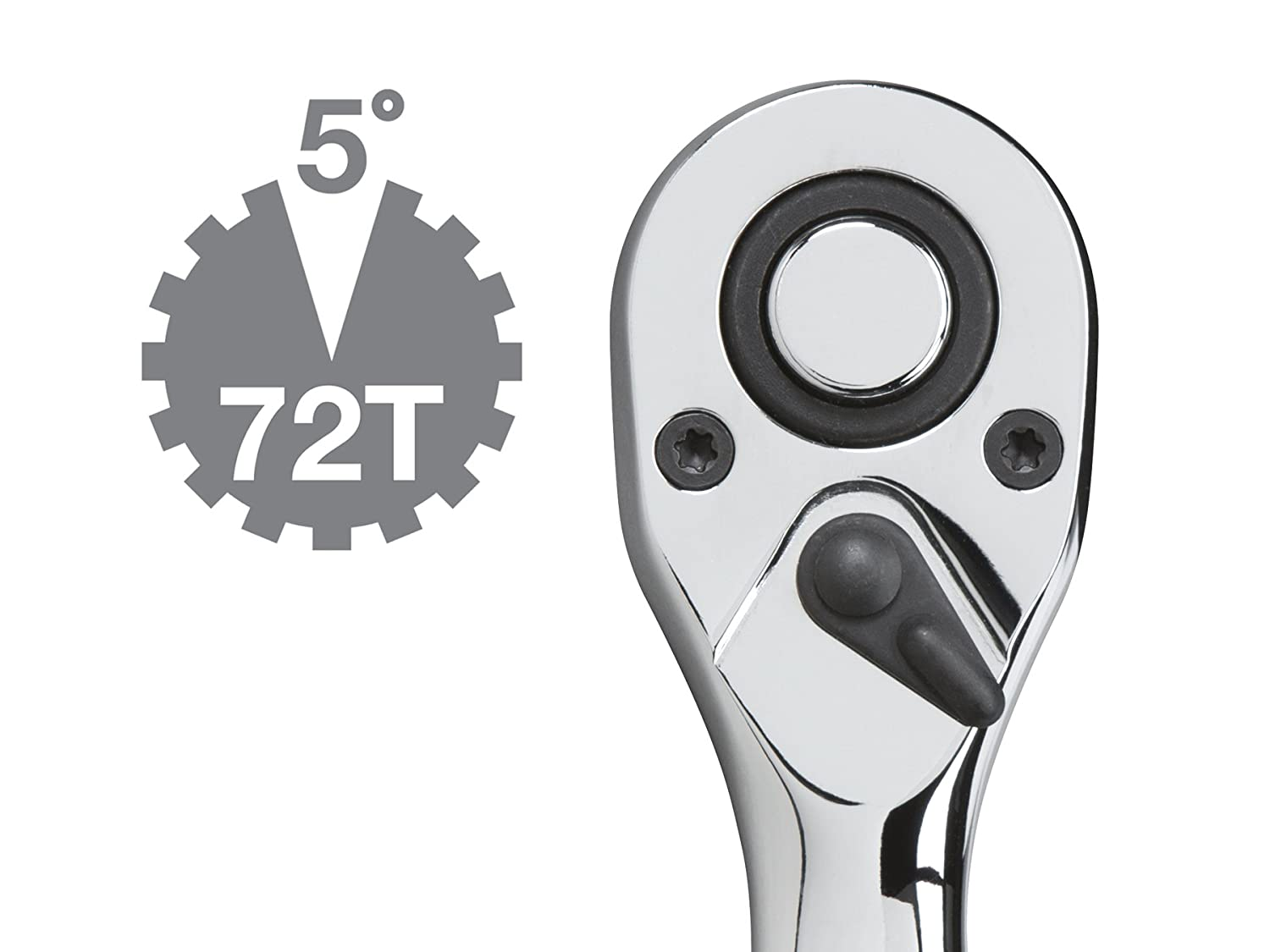 1486 TEKTON 1//4-Inch Drive by 5-Inch Quick-Release Offset Ratchet 72-Tooth Oval Head