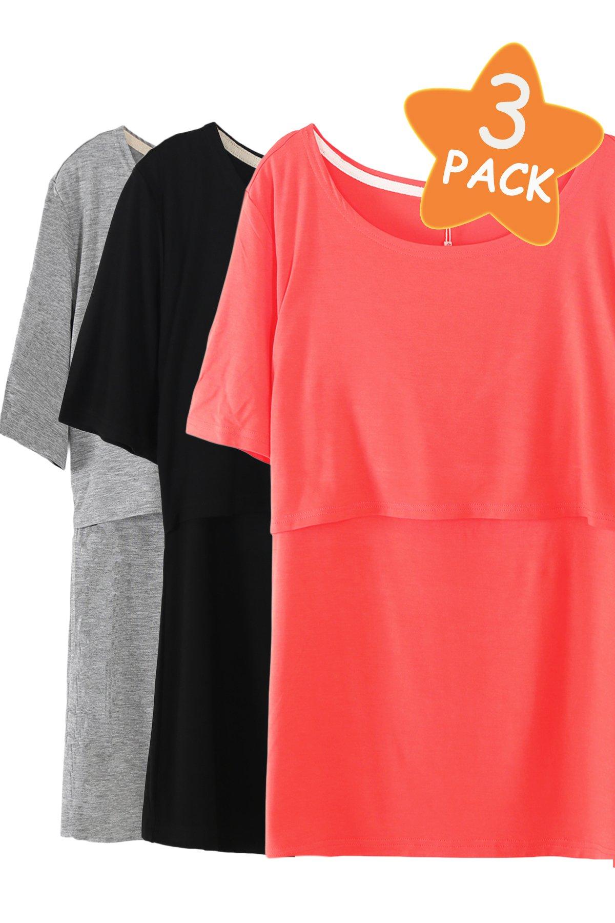 Smallshow 3 Pcs Maternity Nursing T-Shirt Nursing Tops,Orange-Black-Grey,XX-Large by Smallshow