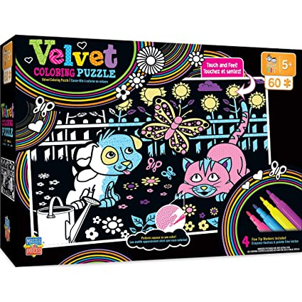 MasterPieces Velvet Coloring of Puppy and Kitty - 60 Piece Kids Puzzle