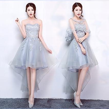 JJK Moderno Vestido de Dama de Honor Azul Gris Peque?o Vestido de Párrafo Corto
