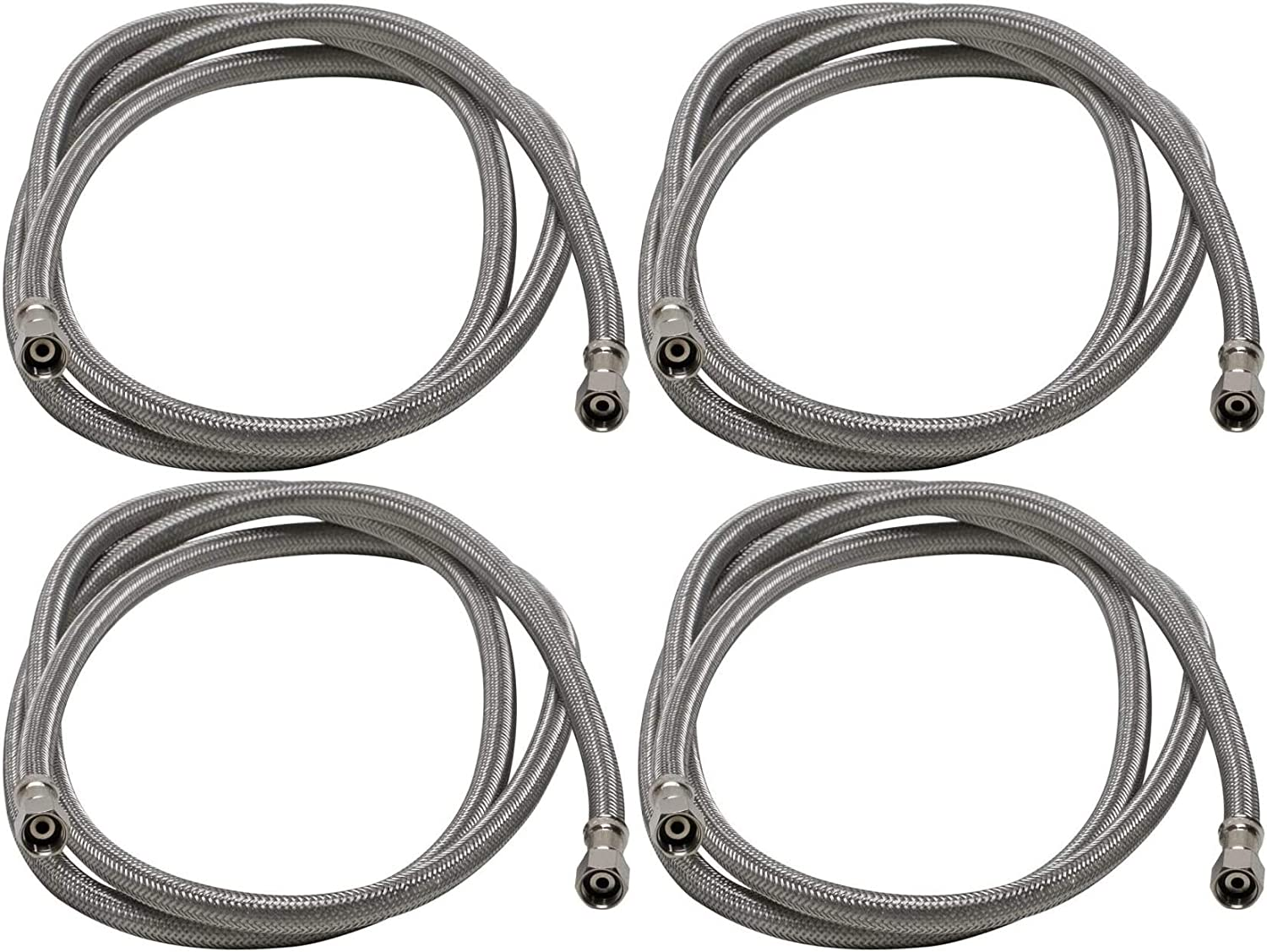 Length 2 Pack Braided Stainless Steel 1//4 Compression Thread x 1//4 Compression Thread Fluidmaster 12IM72 Ice Maker Connector 72-Inch 6 Ft.