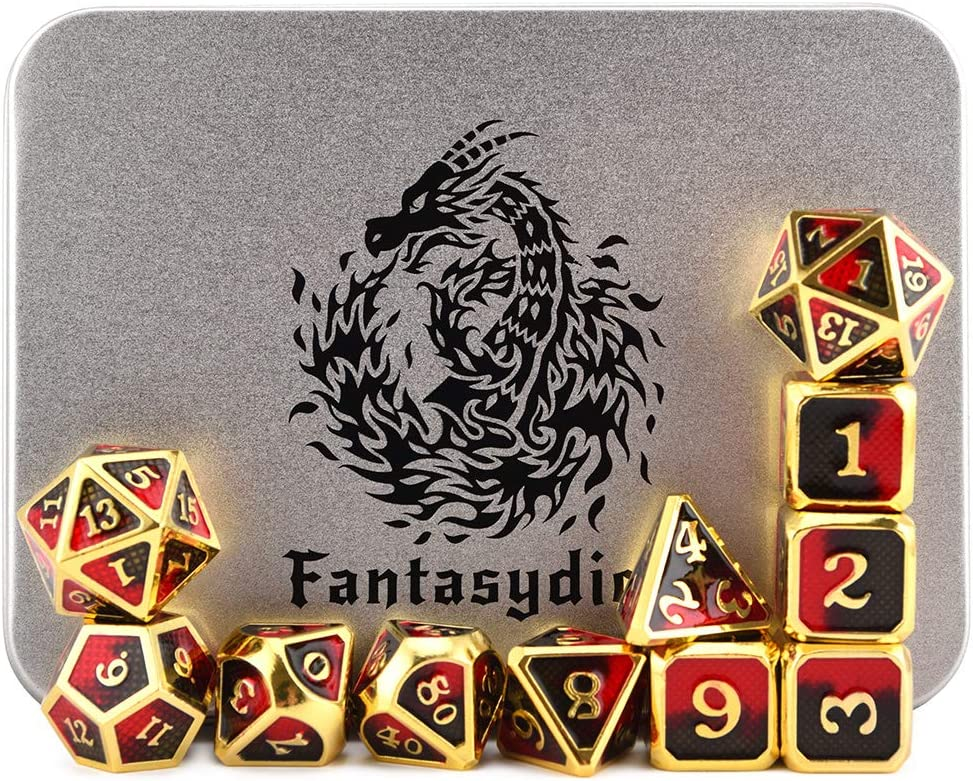 Red Dragon Scales Metal Dice Set 11 Polyhedral Dice with Metal Box for Dungeons and Dragons (D&D, DND 5 Edition) Call of Cthulhu Warhammer Shadowrun and All Tabletop RPG for Board Game Lovers.
