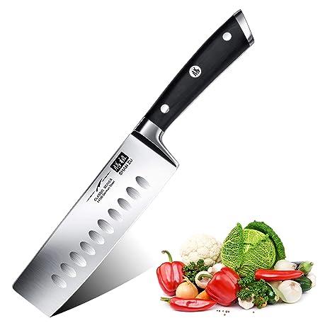 SHAN ZU Cuchillo de Cocina Nakiri, 16.5cm Cuchillo Japones para Verduras, Cuchillo Chef de Acero Inoxidable Alemán, Cuchillo de Cocinero Profesional ...
