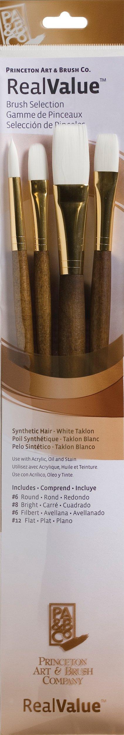 Synthetic White Taklon Real Value Brush Set, 4/Pkg by Princeton Art & Brush