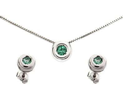 3db43363ec23e Emerald Jewelry Set, Stud Earrings and Pendant Necklace Genuine ...