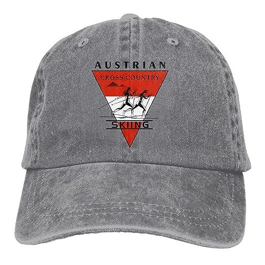 98222e97969 WHa12 Cap Austrian Flag Cross Country Skiing Men Cool Denim Cotton  Adjustable Plain Baseball Caps