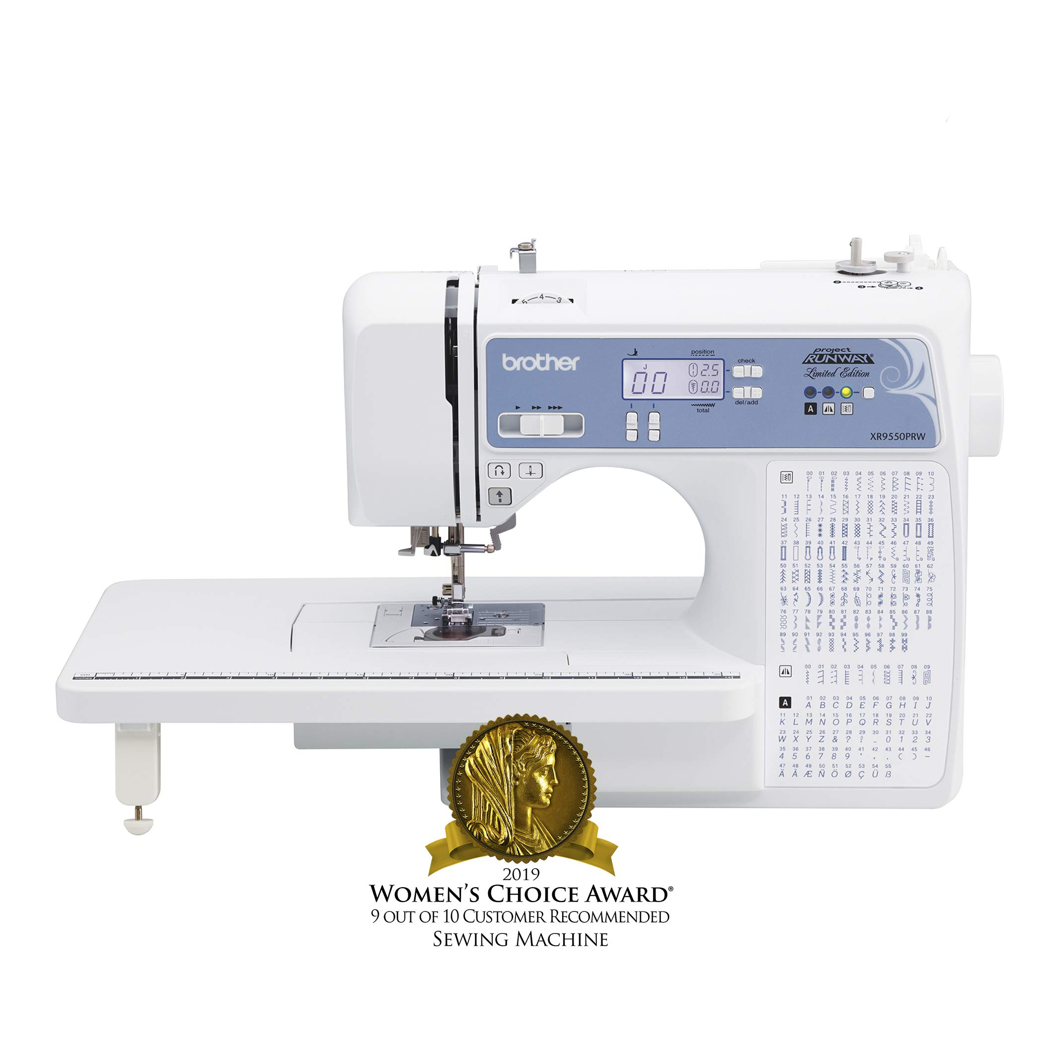 Brother Computerized Sewing Machine, XR9550PRW, Project Runway Limited Edition, 110 Built-in Utility, LCD Screen, Hard Case, White by Brother