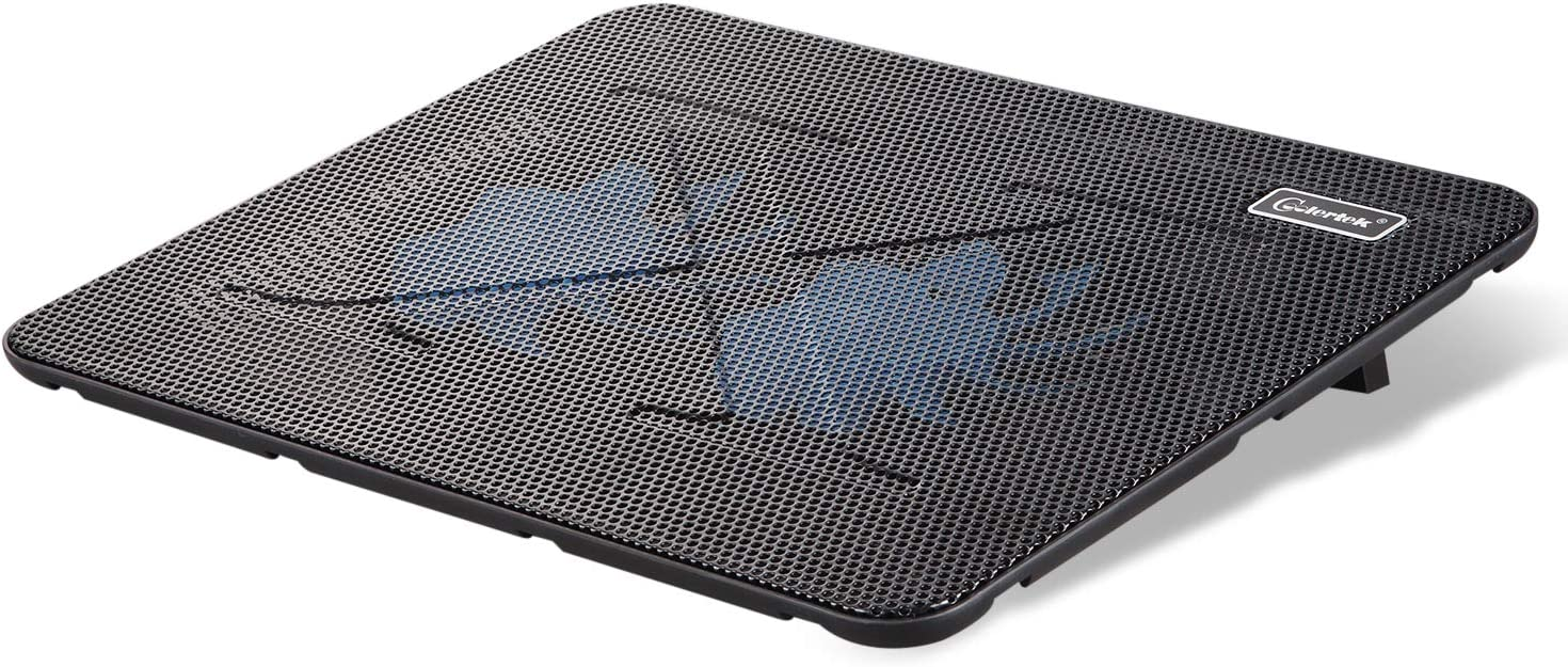 Laptop Cooling Pad, Coolertek Portable Slim Quiet Laptop Notebook Cooler Cooling Pad Stand with 2 Blue LED Fans, USB Powered, Adjustable Angled, Fits 11-14 Inche