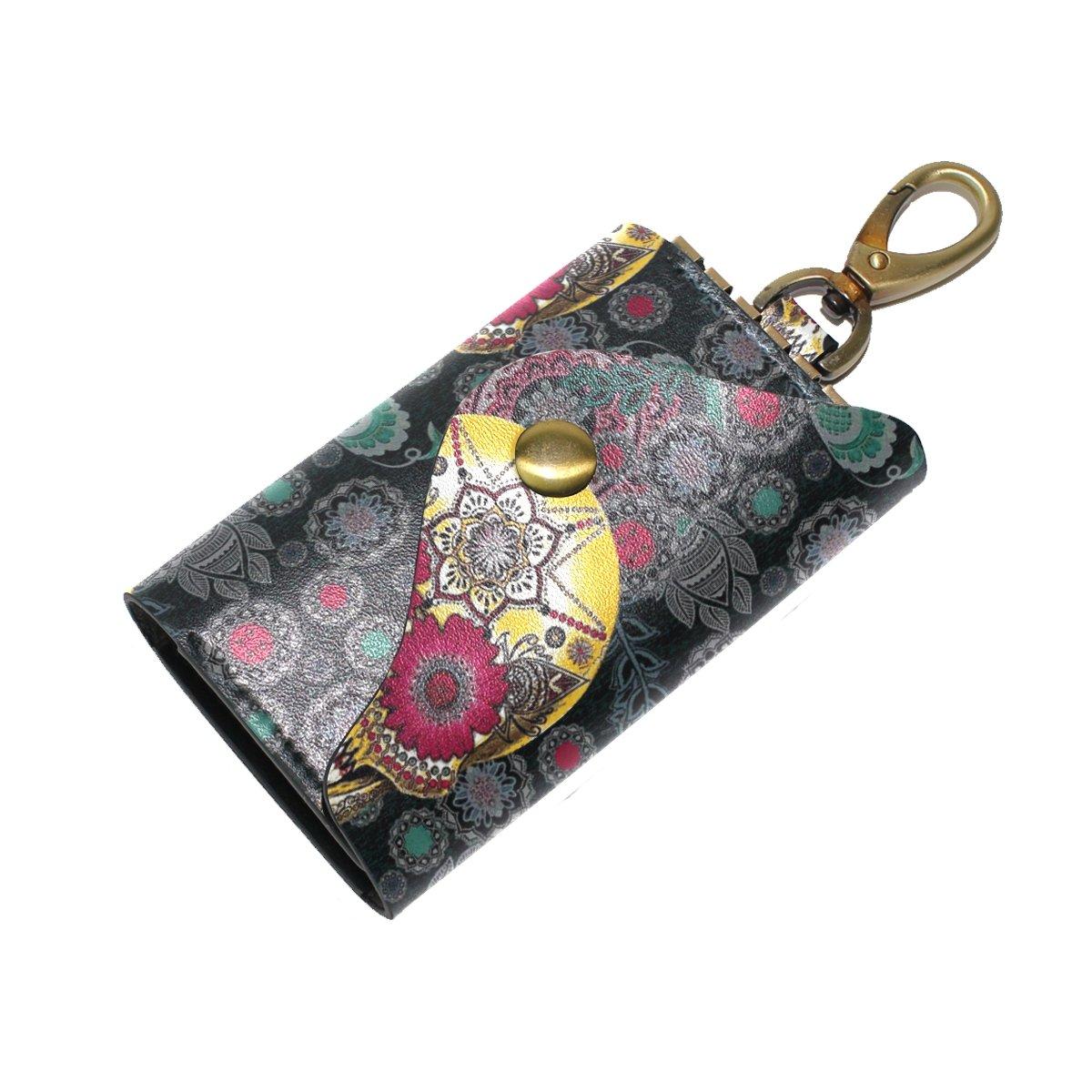 DEYYA Sugar Skull Leather Key Case Wallets Unisex Keychain Key Holder with 6 Hooks Snap Closure