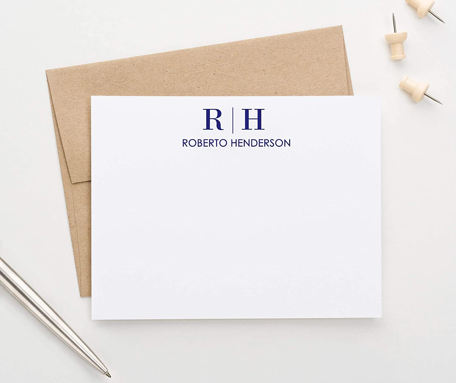Personalized Two Letter Stationary Monogram Stationary Set FLAT NOTE CARDS, Personalized Monogram Stationery Set, Your Choice of Colors and Quantity