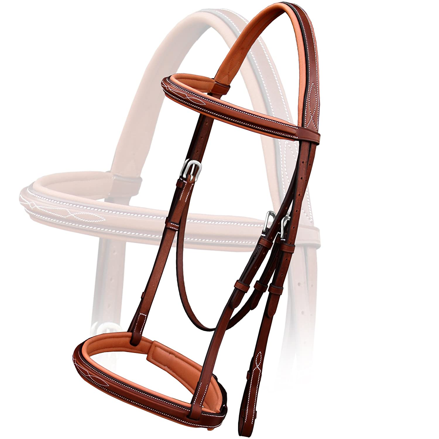 Oak Brown (Reddish Brown) Small (Pony) Oak Brown (Reddish Brown) Small (Pony) Exion Comfort Fancy Padded Leather Bridle with PP Rubber Grip Reins and Stainless Steel Buckles   Equestrian Show Jumping Padded Bridle Set   English Horse Riding Tack   Oak Bro