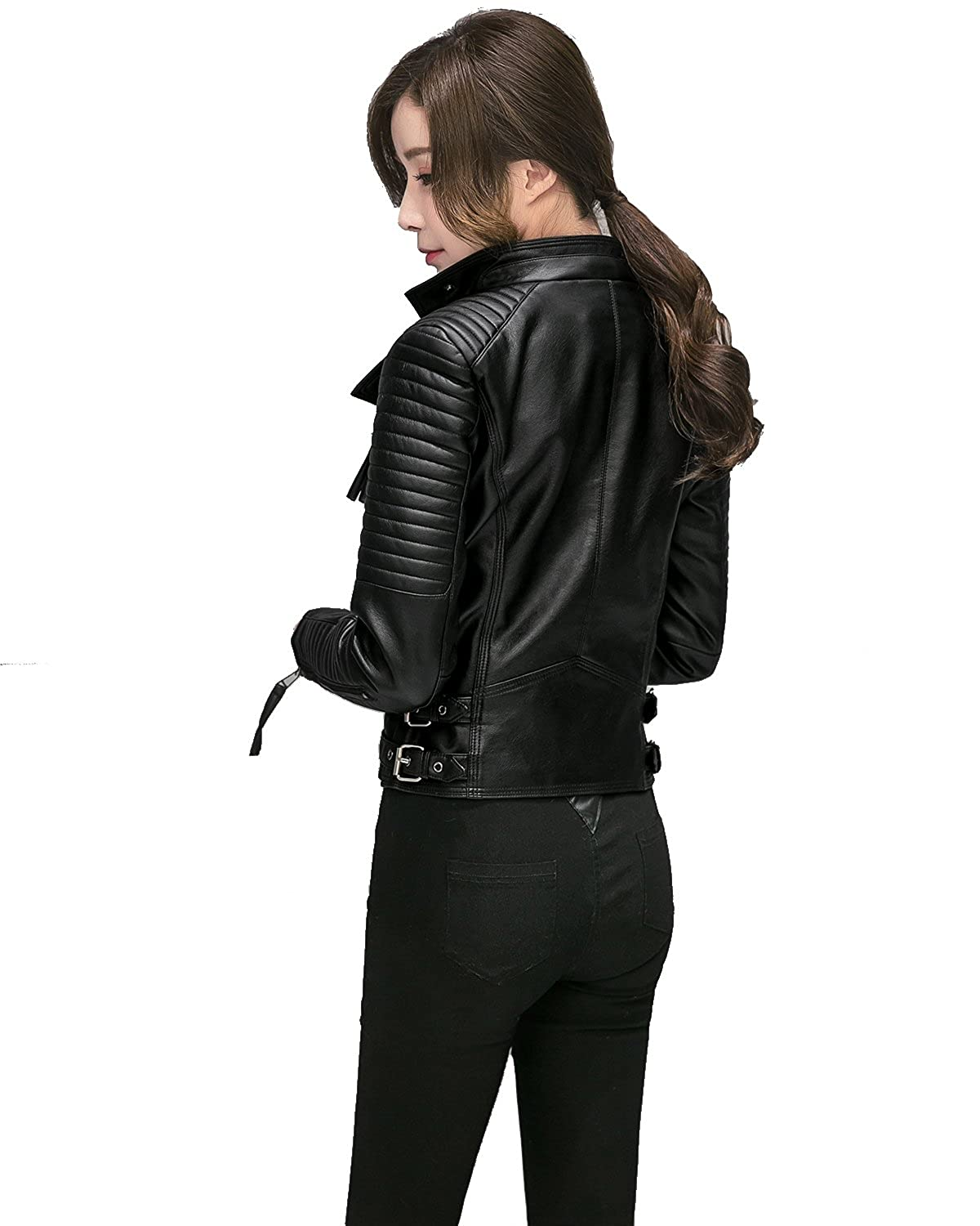 Fitaylor Womens Faux Leather Biker Jacket Slim Short Coat Zipper Moto Jackets