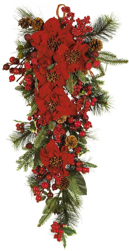 Nearly Natural 4656 Poinsettia Teardrop Wreath, Red/Green