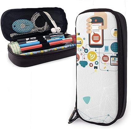 Estuche plano para lápices de Internet para niños y niñas, con diseño de dibujos animados: Amazon.es: Oficina y papelería