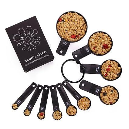 Nardo Visgo® Medición de Cucharas y Tazas de Café Set de 10 Piezas de Plástico