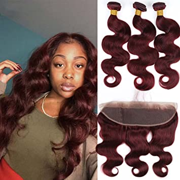fe0f6db50e2 Brazilian Human Hair Burgundy 3 Bundles with Lace 134 Frontal Body Wave  #99J Wine Red Frontal...