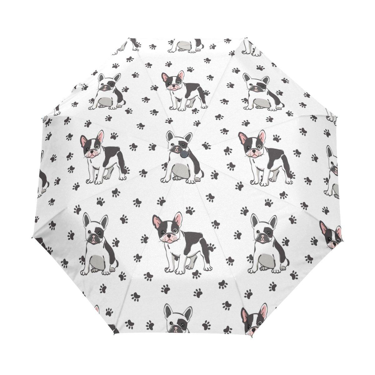 Naanle French Bulldog Dog Paw Print Auto Open Close Foldable Windproof Travel Umbrella