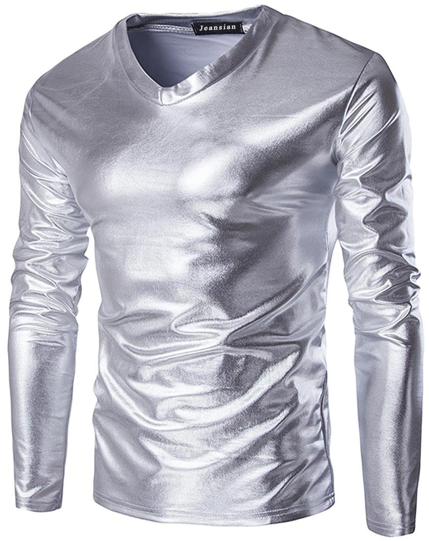 jeansian Men's V-Neck Long Sleeves Bronzing Fabric T-Shirts Tees Tops D719
