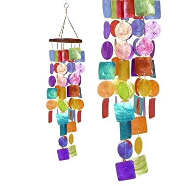 Bellaa 22890 Rainbow Capiz Wind Chime Big 26 inch