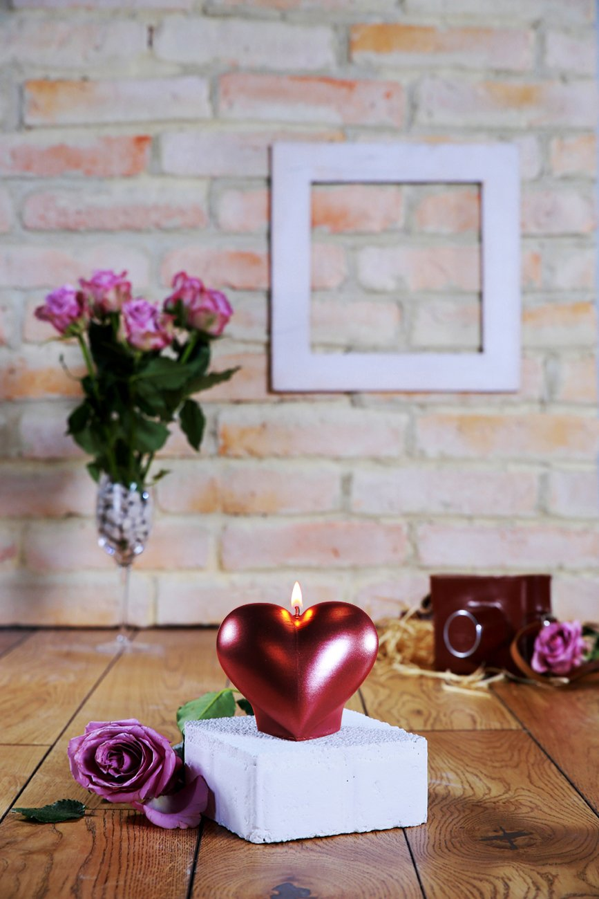 Heart Candle-Red Metallic Candellana Candles Candellana