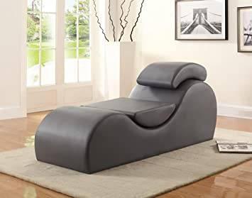 Container Furniture Direct Yoga Collection Modern Upholstered Faux Leather Stretch Relaxation Living Room Chaise Grey
