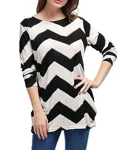 Allegra K Women's Round Neck Contrast Color Zig-Zag Knitted Shirt M Black White