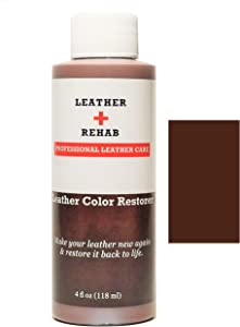Leather Rehab Leather Color Restorer - Repair & Restore Faded, Worn and Scratched Leather & Vinyl Easily with No Kit - Furniture, Couch, Car Seat, Shoes, Jacket and Boots - 4 oz. Dark Brown Molasses