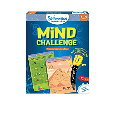 Skillmatics Educational Game: Mind Challenge (6-99 Years) | Erasable and Reusable Activity Mats | Travel Toy with Dry Erase Marker | Learning tools for Kids 6, 7, 8, 9 Years and Up: Toys & Games [5Bkhe0305598]