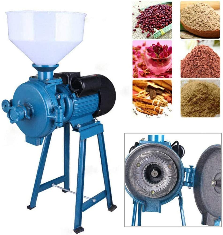 SHKY Grinder Machine, 1500W Electric Grain Mill Cereal Rice Grinder Corn Coffee Wheat Feed Mill Dry Cereals Grinder with Funnel, 1400r / min