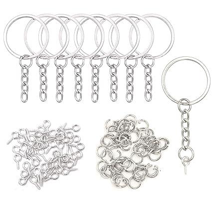 Llaveros y cadenas de 25 mm con anillas de conexión y 50 ...